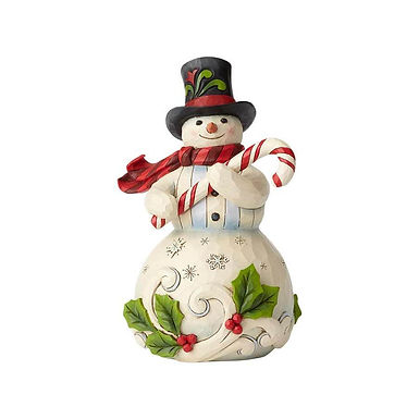 Jim Shore Heartwood Creek Snowman Holding Candy Cane 6001477 New 2018