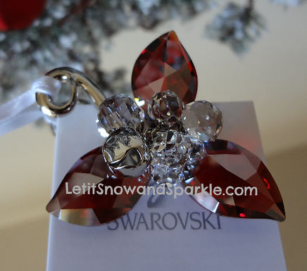 SWAROVSKI WINTER BERRIES LIGHT SIAM SATIN ORNAMENT