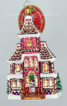 Christopher Radko Grandeur in Ginger 1020105 Gingerbread House Christmas Ornamen