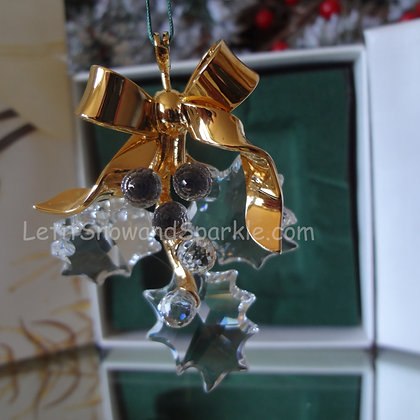 Swarovski Crystal Memories Holly 203080 Christmas Ornament Retired