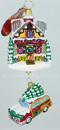 Christopher Radko Lincoln Log Lane House Car 1020330 Unique Christmas Ornament