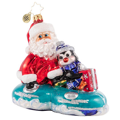 Christopher Radko A Tubular Ride For Two Santa 1020763 Christmas Ornament