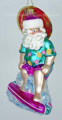 Christopher Radko Surfing Safari Santa 1020130 Christmas Ornament