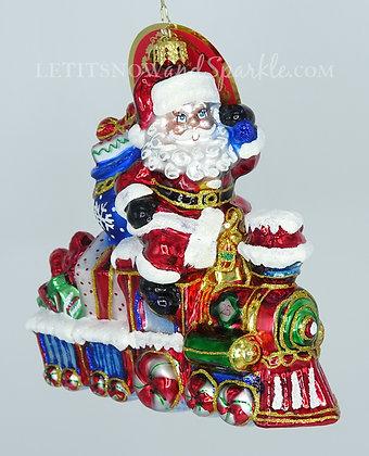 Christopher Radko On The Tracks Santa 1020166 Unique Christmas Ornament