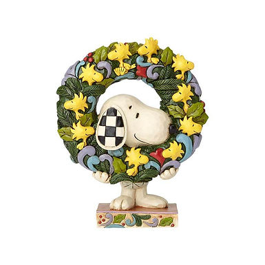 Peanuts by Jim Shore Snoopy with Woodstock Wreath 600984 New 2018