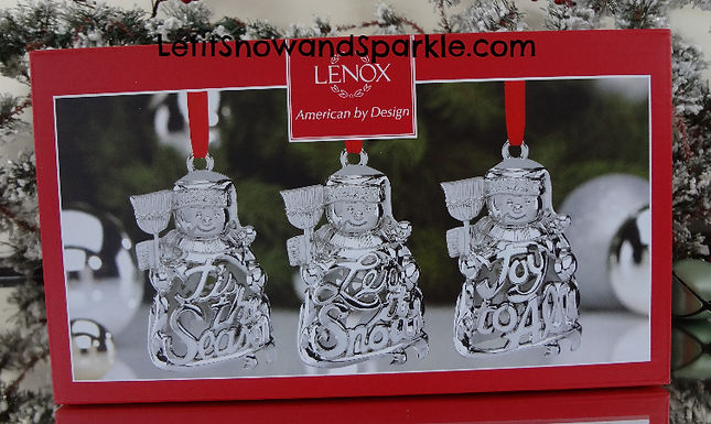 Snowman 3-piece Metal Ornament Set by Lenox