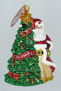 Christopher Radko Cheers To 35 Years! Santa 1020531 Christmas Ornament
