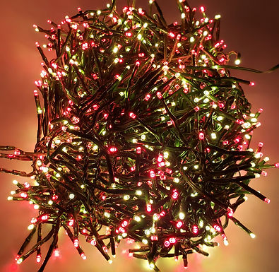 Raz Christmas Cluster LED Lights 44 Feet  Garland with 1300 RED and White