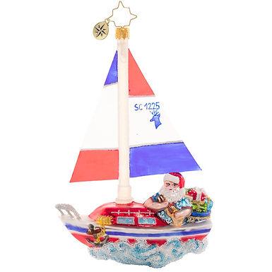 Christopher Radko Sailing South Santa 1020718 Christmas Ornament