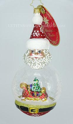 Christopher Radko Santa's Snowy Dome 1020331 Unique Christmas Ornament