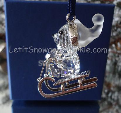 Swarovski 2005 Kris Bear on Sleigh 718990 Christmas Ornament Retired