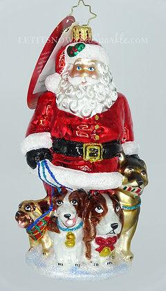 Christopher Radko Promenading Pups Santa 1019982 Unique Christmas Ornament