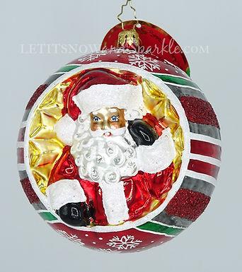 Christopher Radko Spherical Cheer! Santa 1020218 Christmas Ornament