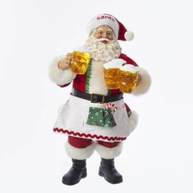 Kurt Adler C7477 10.75 inch Fabriche Santa Serving Beer New 2018