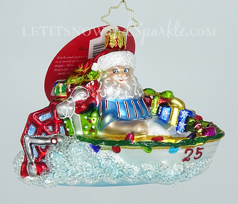 Christopher Radko Speed Boat Santa 1020222 Unique Christmas Ornament