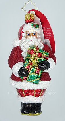 Christopher Radko A Gift In Hand Santa 1020529  Christmas Ornament