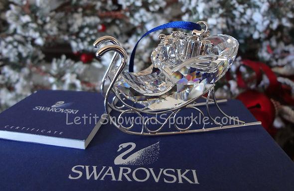Swarovski Sleigh Rhodium Chrome Ornament 718995 Christmas Retired