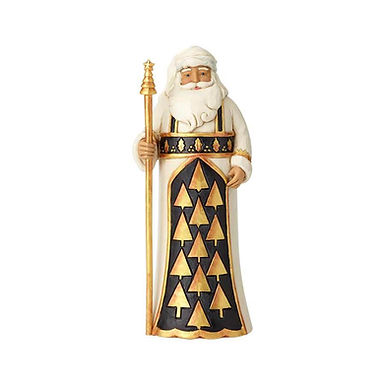Jim Shore Heartwood Creek Black and Gold Santa Holding Staff 6001434 New 2018