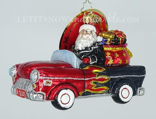Christopher Radko Speeding Into Christmas! Santa 1020322 Christmas Orname