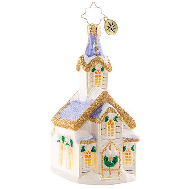 Christopher Radko Peaceful Place Of Prayers Chapel 1020734 Christmas Ornament