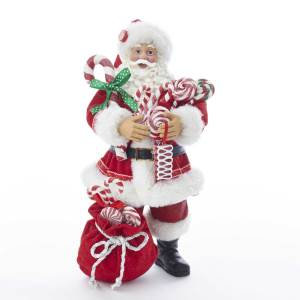 Kurt Adler C7493 10.5 inch Fabriche Santa with Christmas Candy and Bag New 2018