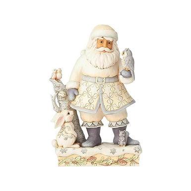 Jim Shore Heartwood Creek White Woodland Santa with Owl Tree 6001407 New 2018
