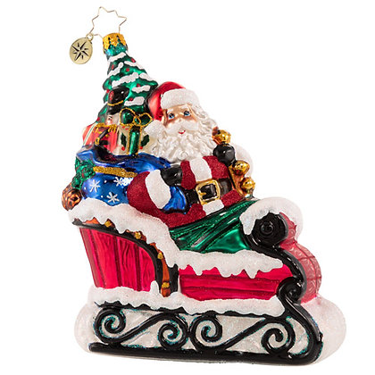 Christopher Radko Countryside Sleigh Ride Santa 1020815 Christmas Ornament