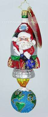 Christopher Radko Santa's Space Race 1020090 Unique Christmas Ornament