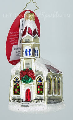 Christopher Radko Snow Dusted Chapel Cottages Houses 1020367 Christmas Ornament