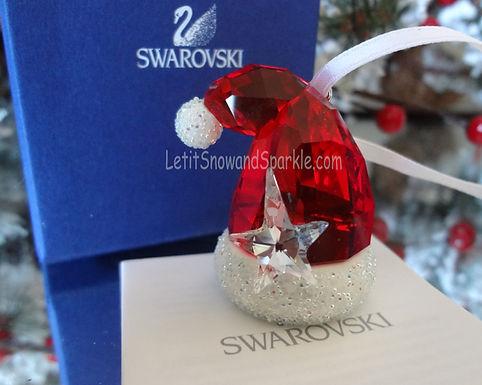 SWAROVSKI CRYSTAL SANTA'S HAT CHRISTMAS ORNAMENT