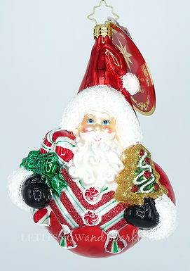Christopher Radko Holiday Sphere Cheer Santa 1019814 Christmas Ornament