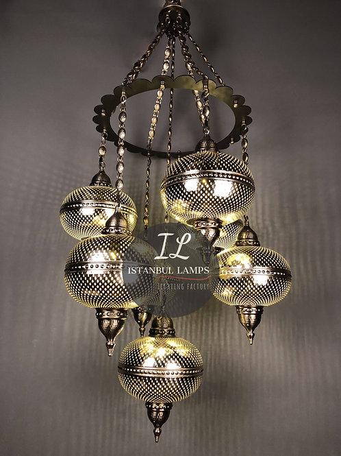 Turkish Brass Chandelier Medieval Improvised Design
