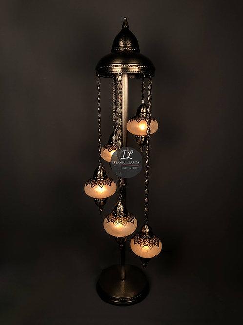 Oriental 5 Piece Nickel-Plated Bronze Cascade Floor Lamp