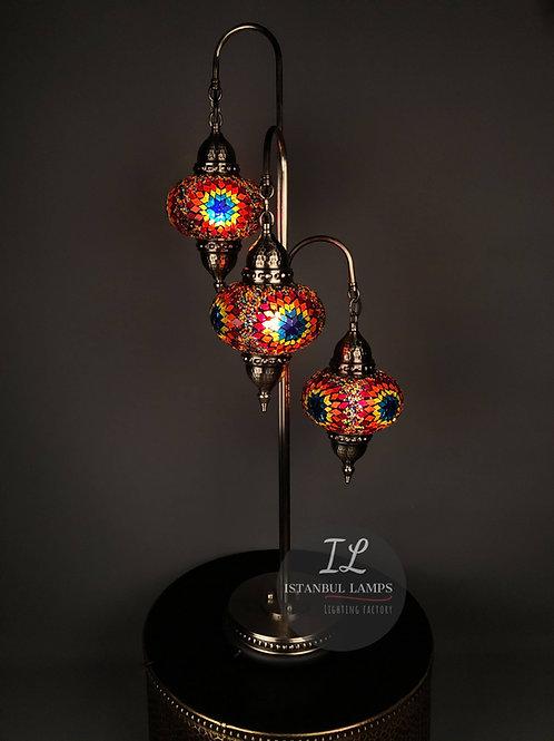 3 Piece Bronze Mosaic Turkish Floor Lamp