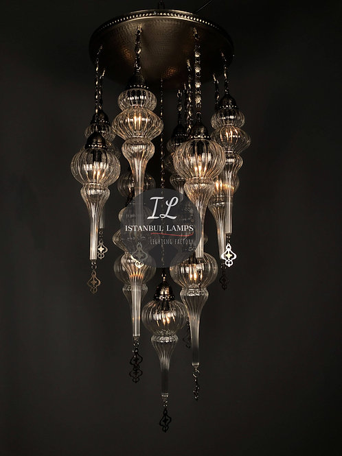 13 Piece Ottoman Glass Chandelier
