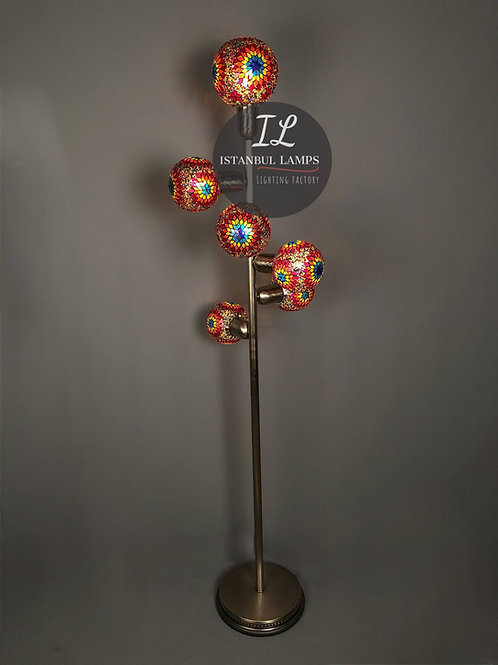 Contemporary Oriental 6 Bulb Mosaic Bronze Floor Lamp