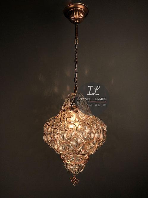 Copper Oriental Pendant Lamp Glassblowing