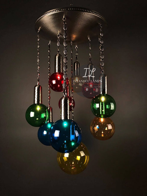 10 Piece Modern Multi-Color Glass Bubble Nickel-Plated Bronze Chandelier