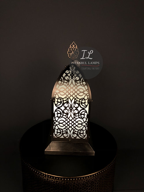 Middle Eastern Bronze Nickel-Plated Table Lamp