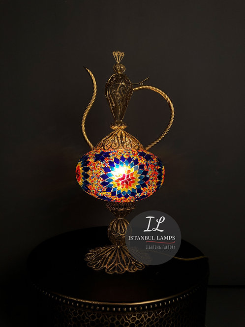 Turkish Filigree Copper Kettle Table Lamp