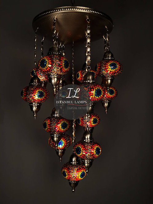 13 Piece Bronze Mosaic Turkish Chandelier
