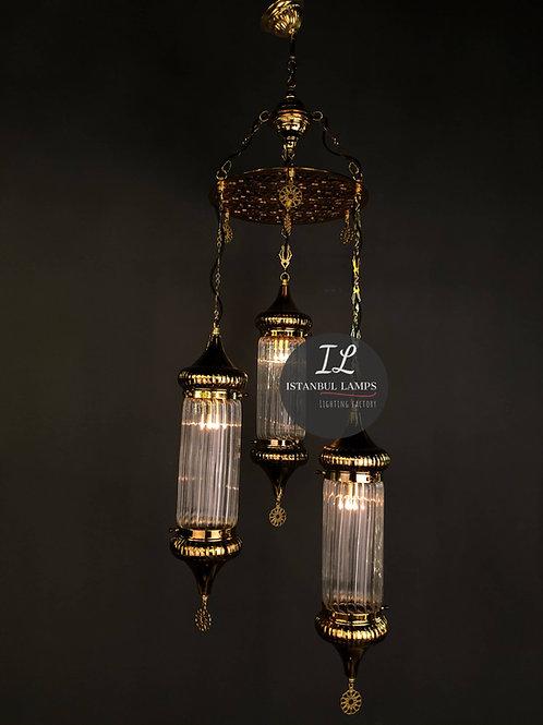 3 Piece Cylinder Ottoman Gold Chandelier