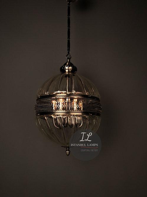 Sphere-Shaped Bronze Ottoman Pendant Lamp