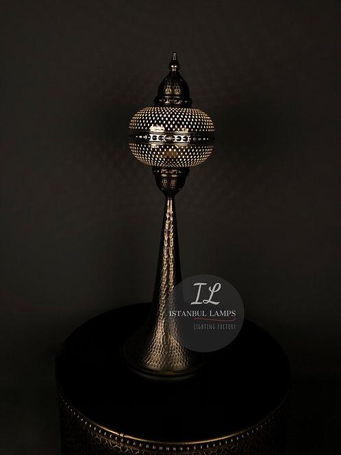 Turkish Bronze Nickel-Plated Table Lamp Oriental Large