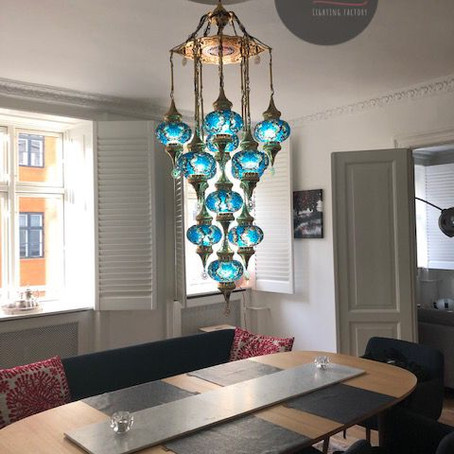 Expressing yourself with a mosaic chandelier.