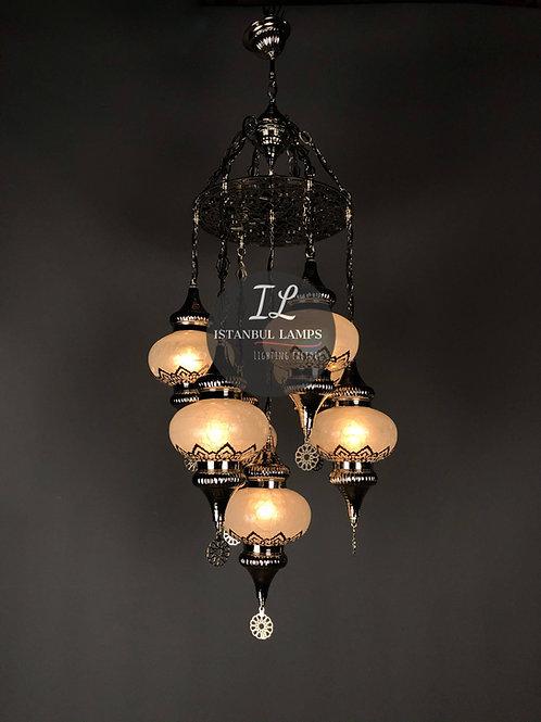 7 Piece Ottoman Chandelier With Penç Motifs Nickel-Plated Bronze