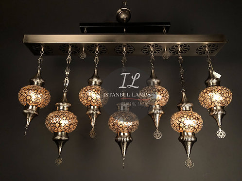 Rectangle Ottoman Chandelier Glassblowing 7 Pieces Brass