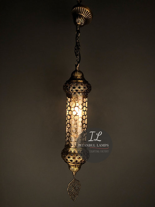 Middle Eastern Cracked Glass Bronze Oriental Pendant Lamp