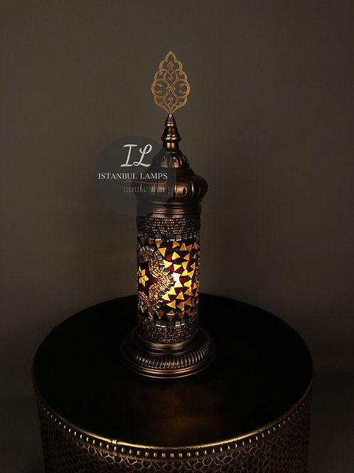 Oriental Cylinder Turkish Mosaic Table Lamp