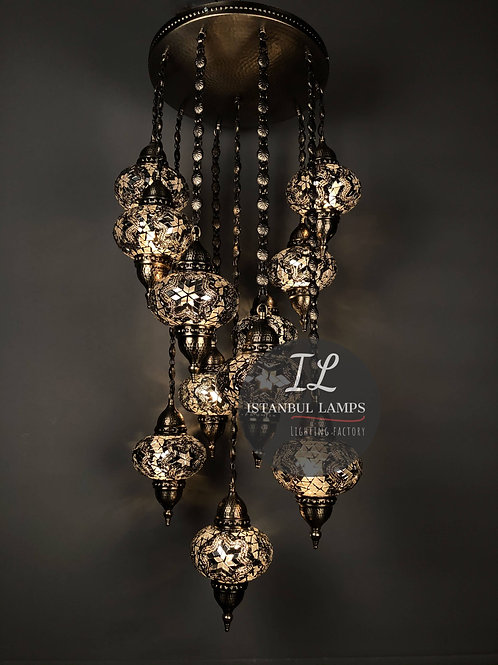 11 Piece Nickel-Plated Bronze Turkish Mosaic Chandelier